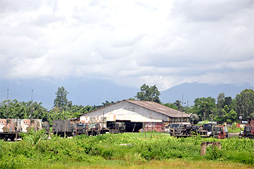 Manipur is one of the most militarised states in India. This is a military area within the compound of the civil airport at Tulihal, Imphal