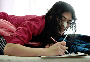 Irom Sharmila Chanu, who has been kept in the security ward of the Jawaharlal Nehru Hospital in Imphal, is also a writer and poet