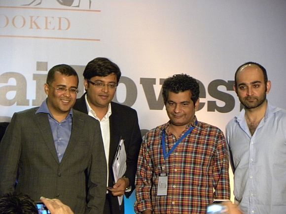 (L) Chetan Bhagat, Arnab Goswami, Mohammed Hanif and Mohsin Hamid