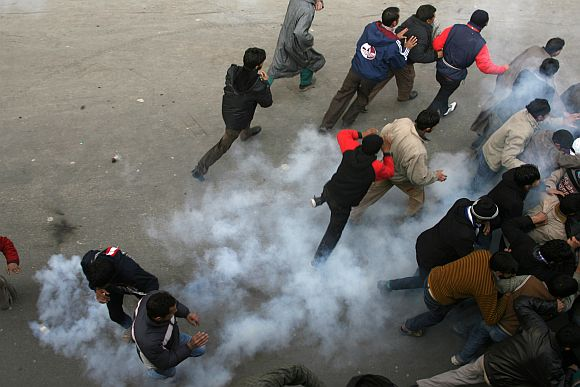 Security forces later shelled tear smoke as the youth indulged in heavy stone pelting