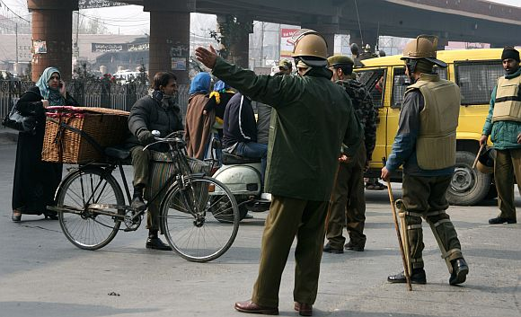 Heavy restrictions were imposed in Srinagar on Sunday morning ahead of the Muharram procession