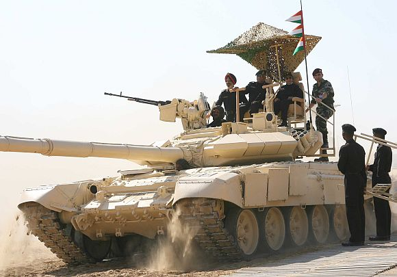 President Pratibha Patil rides the T-90 tank
