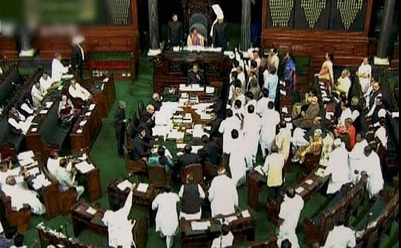 Video grab of the ruckus in Parliament