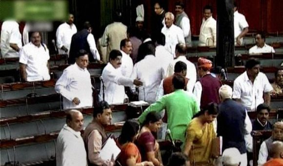 Video grab shows the Opposition walking out of Lok Sabha