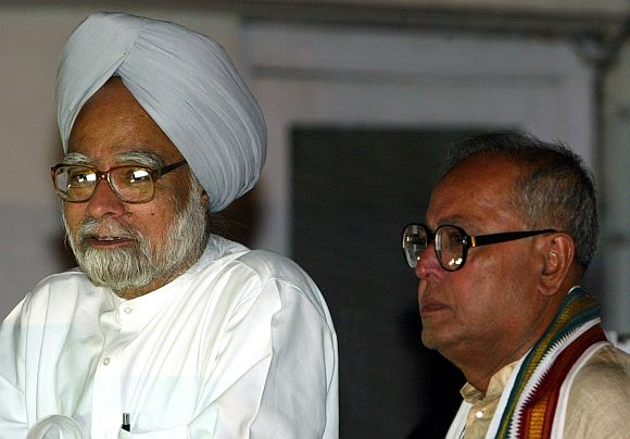 Prime Minister Manmohan Singh and Finance Minister Pranab Mukherjee in New Delhi
