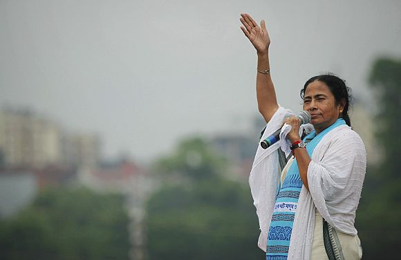 Trinamool leader Mamata Banerjee addresses a rally in Kolkata
