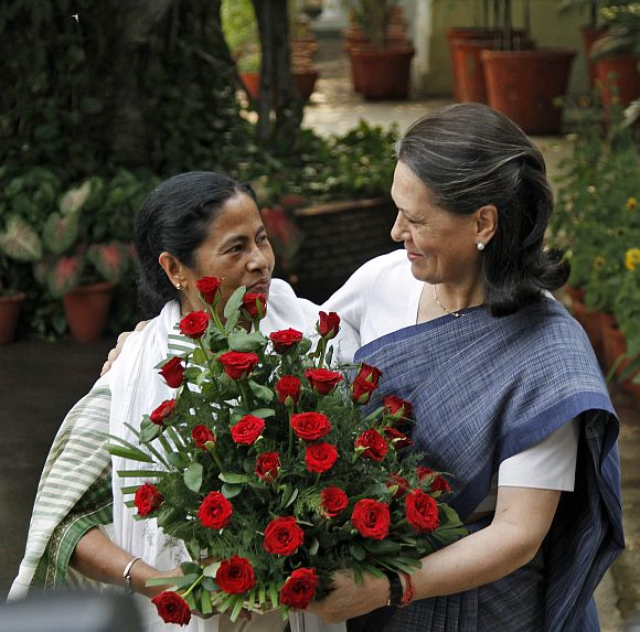 Mamata Banerjee with Congress president Sonia Gandhi in New Delhi