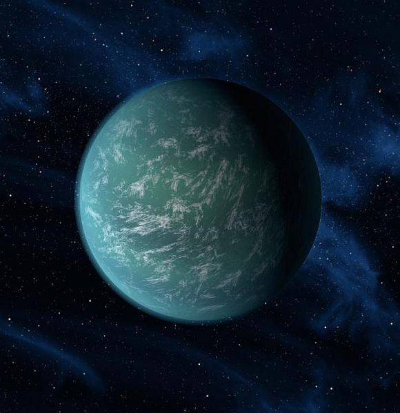 This artist's conception illustrates Kepler-22b, a planet known to comfortably circle in the habitable zone of a sun-like star