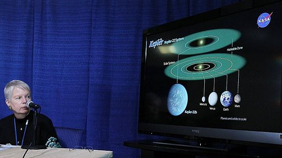 Jill Tarter, director of the Centre for SETI Research, with a graphic showing the newly discovered planet Kepler-22