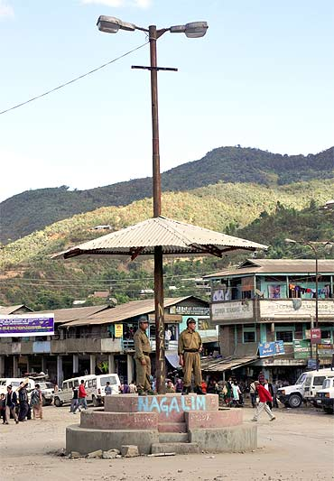 The Senapati district headquarters. The Kuki tribals want it carved into two. The Nagas, who want it included in 'Greater Nagalim', oppose it tooth and nail