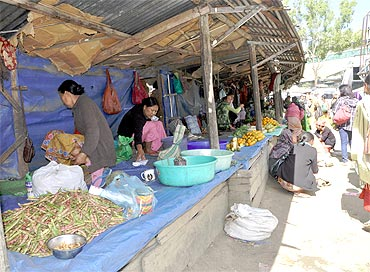 It is mostly women who sell vegetables in the markets in the state. Here, at the Senapati district headquarters, you can buy frogs and monkey brain