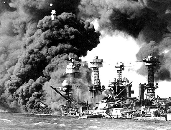 US Navy battleship USS West Virginia burns and sinks after the Japanese attack on Pearl Harbour, Hawaii December 7, 1941