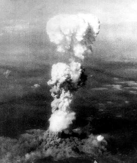 Smoke billows 20,000 feet above Hiroshima following the explosion of the first atomic bomb to be used in warfare in this US Air Force handout photo dated August 6, 1945