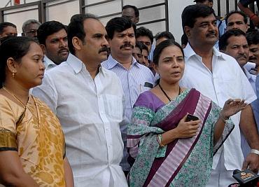 Jagan loyalist B Shobha Nagireddy (centre), who voted against the Andhra CM