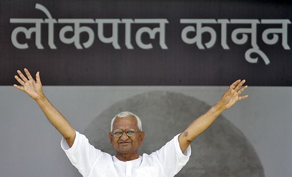 Anna Hazare during his fast to press for a stronger Lokpal Bill at the Ramlila Grounds in New Delhi