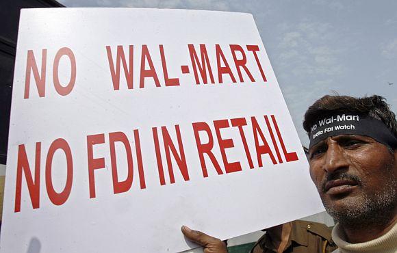 An anti-FDI in retail protest in New Delhi