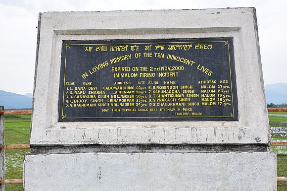 The memorial for the Malom incident in 2000, that sparked Irom Sharmila's decision to fast till the AFSPA is repealed. One of the 10 people killed was a young man who had won the National Bravery Award
