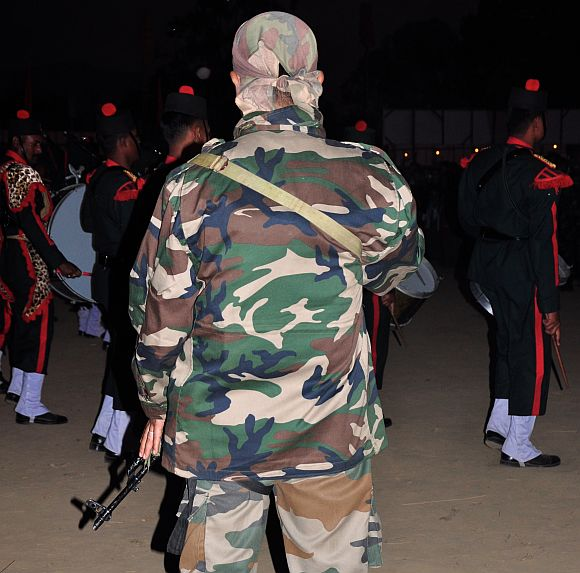 A Manipur police commando in Imphal