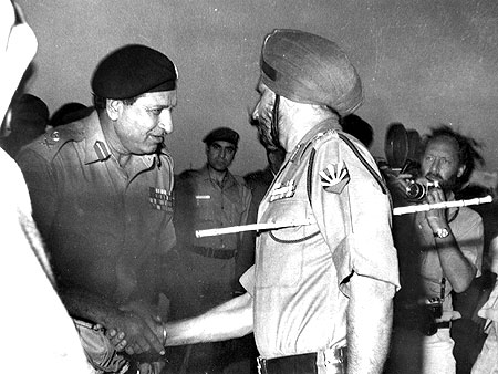 Pakistan's Lieutenant General A A K Niazi, left, greets Lieutenant General Jagjit Singh Aurora, GOC-in-C, Eastern Command