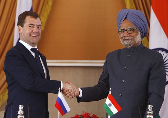 File picture of Dr Singh with Russian President Dmitry Medvedev during the latter's trip to India in December 2010