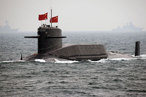 A Chinese Navy nuclear submarine takes part in an international fleet exercise