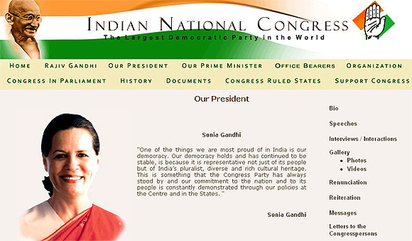 Congress website DEFACED on Sonia's birthday