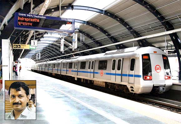 The international quality Delhi Metro and, inset, Arvind Kejriwal