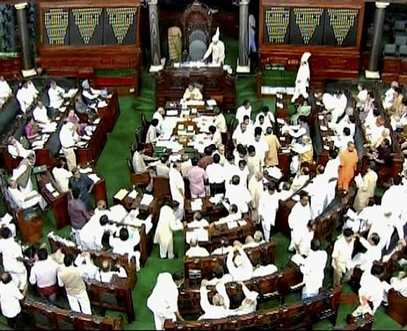 Shinde tables Telangana Bill in Rajya Sabha amid ruckus