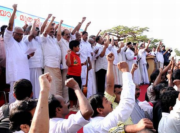 A Left Front protest in Kerala