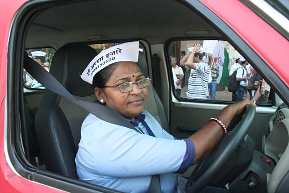 A woman taxi driver at the vehicle rally in Mumbai
