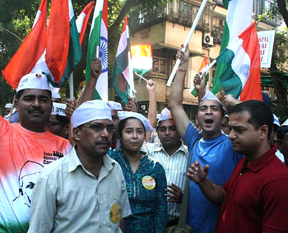 Many of Hazare's supporters observed a day-long fast on Sunday