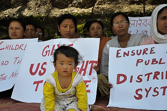 An anti-government protest in Imphal. Corruption is rampant in Manipur