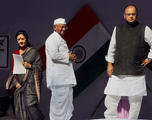 Anna Hazare with CPM leader Brinda Karat and BJP leader Arun Jaitley
