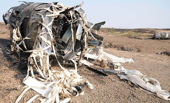 Debris of an IAF Sukhoi-30 fighter jet which crashed near Pune on Tuesday