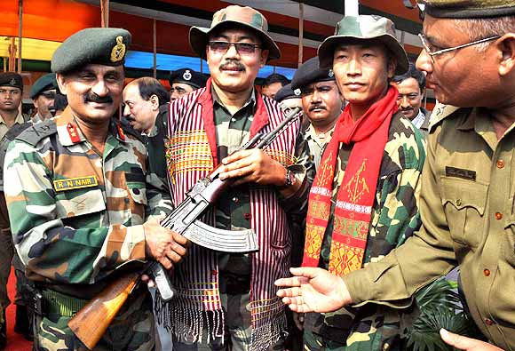 Militants lay down arms, seek peace