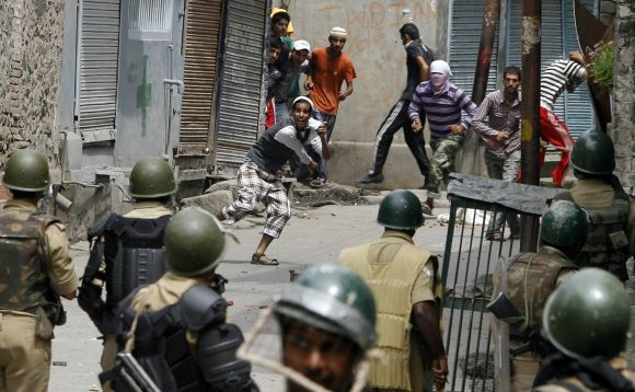 File picture of Kashmiri protestors clashing with security personnel in Srinagar