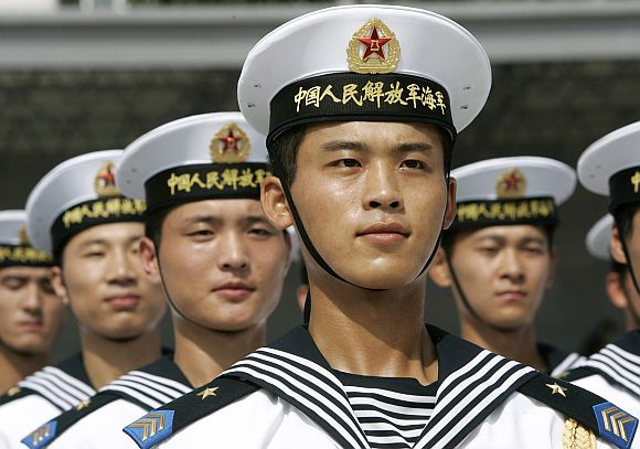Navy sailors of the Peoples Liberation Army during a ceremony in Beijing