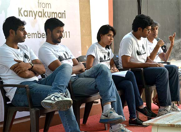 Members of 'Proud Indians' at a press conference in Hyderabad