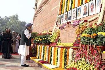 Prime Minister Manmohan Singh pays homage to the security personnel who made the ultimate sacrifice on December 13, 2001.