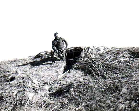 Captured enemy bunker across the Ravi river