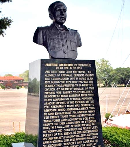 Lieutenant  Arun Khetrapal is the youngest officer to receive the Param Vir Chakra. His bust at the National Defence Academy in Pune