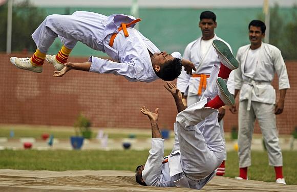 CRPF personnel display martial art skills