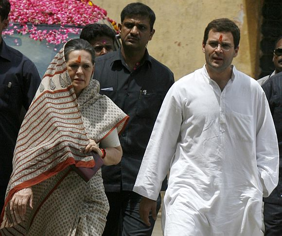Congress chief Sonia Gandhi with Rahul