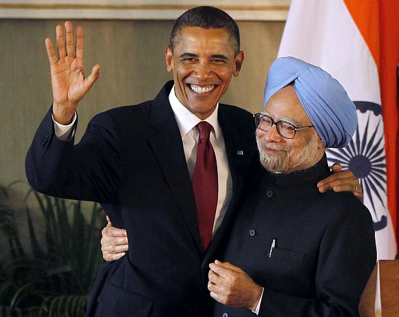 PM Singh with US President Obama in New Delhi