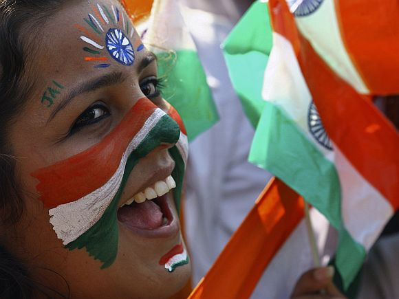A girl cheers during Republic Day celebrations in Chandigarh