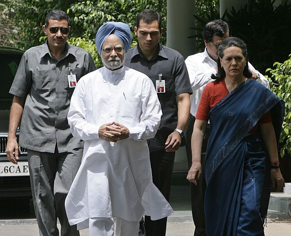 File image of PM Manmohan Singh with Congress chief Sonia Gandhi