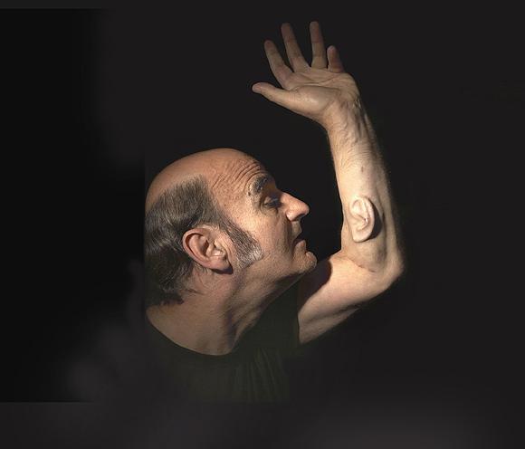 Australian artist Stelarc during a performance
