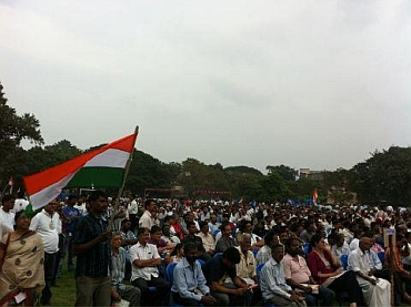 Hazare supporters at a rally in Chennai