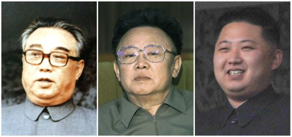 A combination photograph shows founder of North Korea Kim Il-sung (left), North Korean leader Kim Jong-il (centre) and Kim Jong-il's youngest son Kim Jong-un (right)