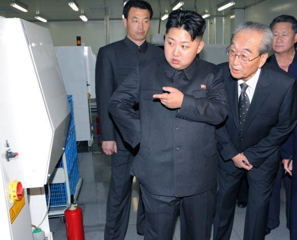 Kim Jong-un (C), son of North Korean leader Kim Jong-il visits Mokran Video Company in Pyongyang